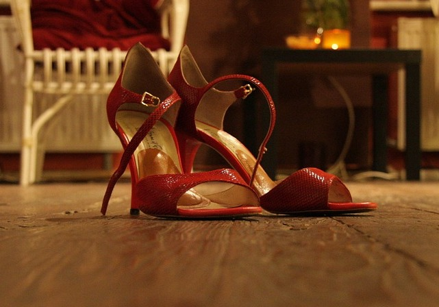 High-heeled shoes can damage wood floors.