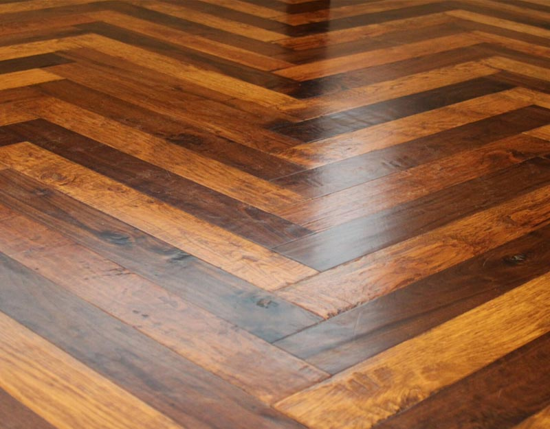 Walnut and Hickory Herringbone Floor