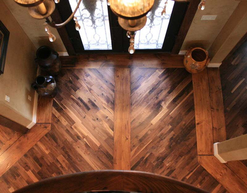 Custom Designed Rustic Walnut Floor With Pine Border