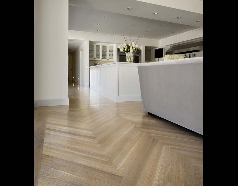 5 Inch White Oak Herringbone Custom Stain