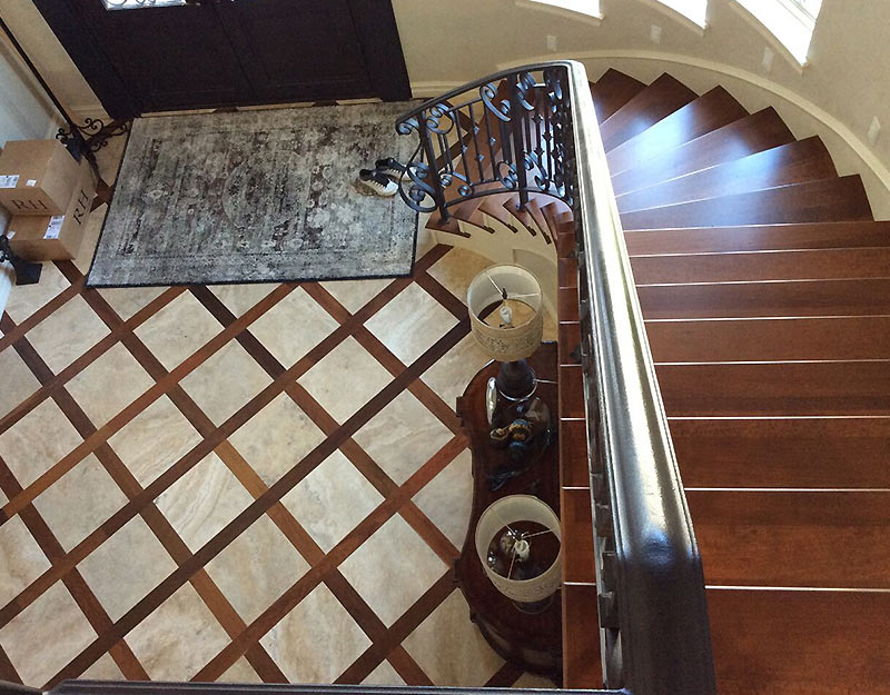 Walnut Staircase, Walnut Border with Tile Inlay Floor