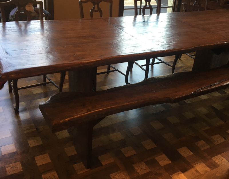 Hand-hewn Oak Table Table, Walnut and Hickory Basketweave Floor
