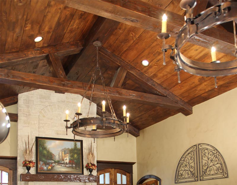 Custom Hand-hewn Ceiling with Oak Beams
